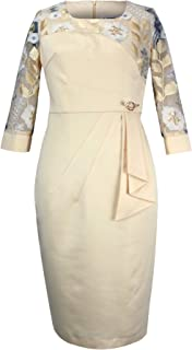 Women's Three Quarter Sleeve Plus Size Lace Straight Dress