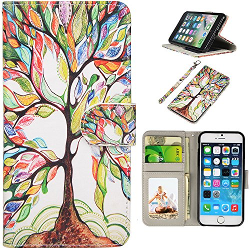 mollycoocle iphone case 5s UrSpeedtekLive iPhone SE Case, iPhone SE Wallet Case(NOT FIT iPhone SE 2020), Premium PU Leather Funny Case Flip Cover with Card Slots & Stand for iPhone 5/5S/SE, Life Tree Pattern