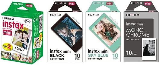 Fujifilm Instax Mini Instant Film 4-PACK BUNDLE SET , SKY BLUE 10 + Black Frame 10 + Monochrome 10 + Twin 20 90 8 70 7s 50s 25 300 Camera SP-1 Printer