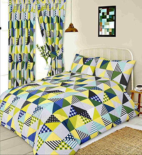 Men Only Single Bed Geo Patchwork Lime, Duvet/Quilt Cover Set, Geometric Shapes Squares Triangles Gingham Check Polka Dot Spots Lines Stripes, Green Yellow Cream Grey Blue