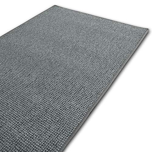 casa pura Kurzflor Teppich Carlton | Flachgewebe dezent Gemustert | robuster Schlingenteppich in vielen Größen | als Wohnzimmerteppich, Küchenteppich, Schlafzimmerteppich (Hellgrau - 140x200 cm)