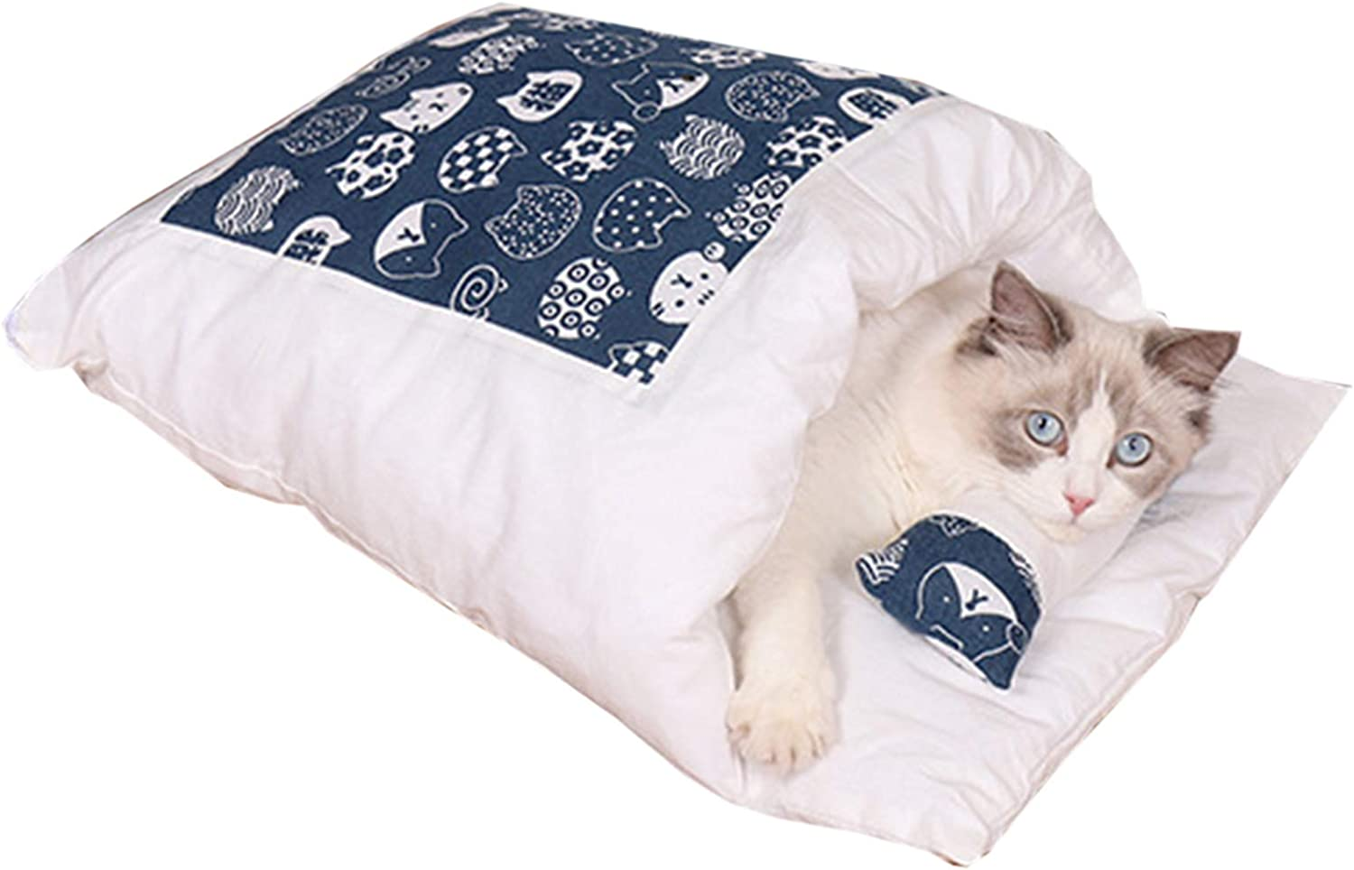 Closed Removable Max 68% OFF Cat Bed SleeBag Plush Warm Nest Ranking TOP16 Mat Winter Pet
