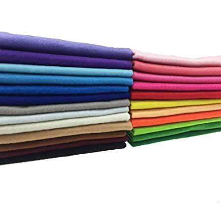 Scrapbooks kuou 40 Pcs Felt Fabric Sheets Patchwork About 1mm Thick, Multicolor 15 * 15 cm Nonwoven Squares Felt Fabric Sewing Quilting Craft for Craft Work