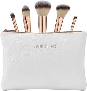 6d4649bf8 Lily England Kit de Maquillaje - 5 Brochas en Oro Rosa con Estuche. Brocha  para Polvos y Colorete, Brocha de Maquillaje, Pincel para Sombras y Pincel  en ...