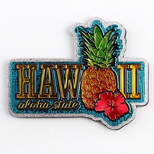 ハワイアン フォイルマグネット 「ハワイアンパイナップル&ハイビスカス」 /ハワイのお土産/ハワイアン雑貨/ [並行輸入品]