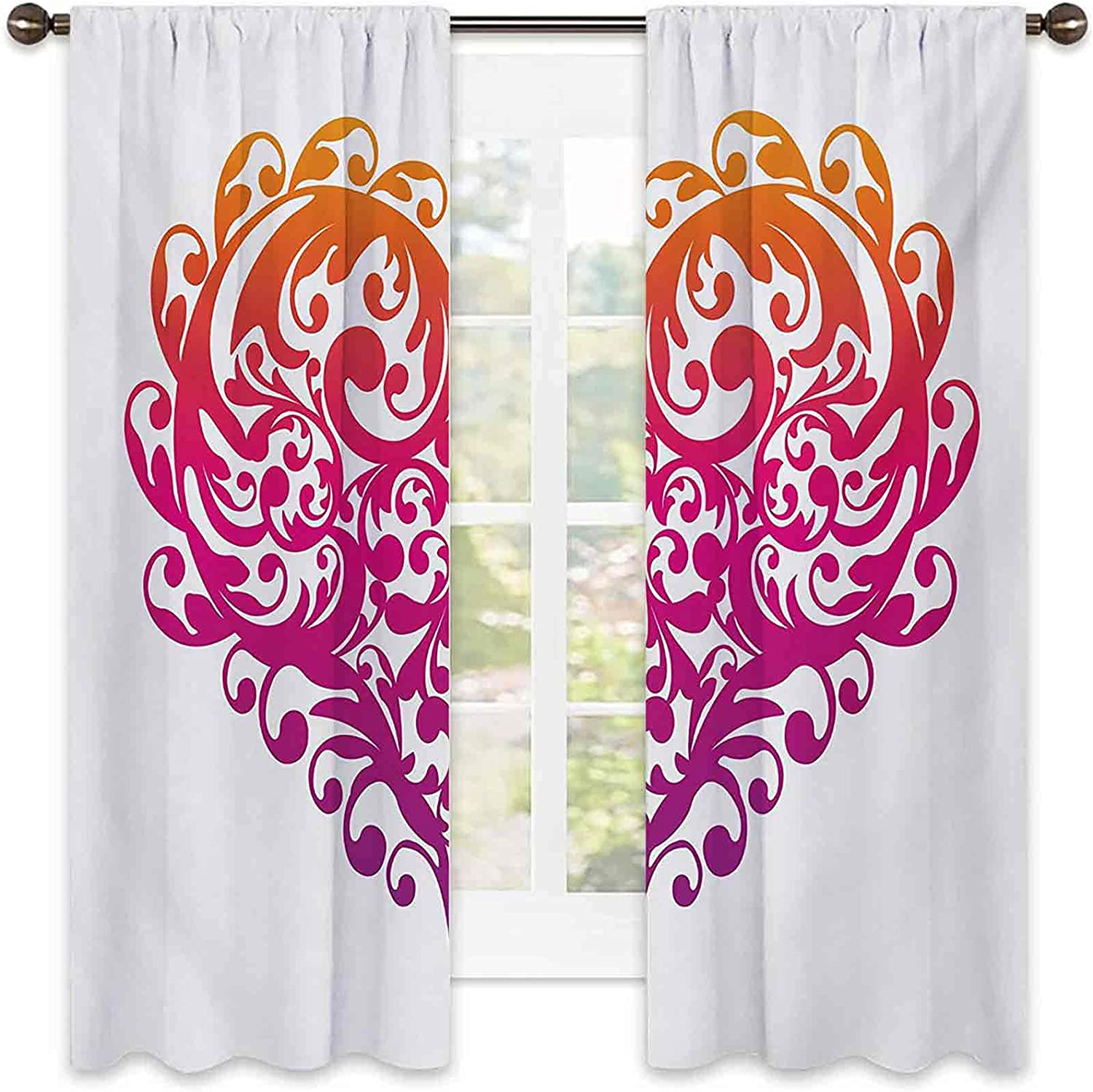 Shading Insulated Max 51% OFF 2021 spring and summer new Orange Pink Heart O with Abstract Curtain