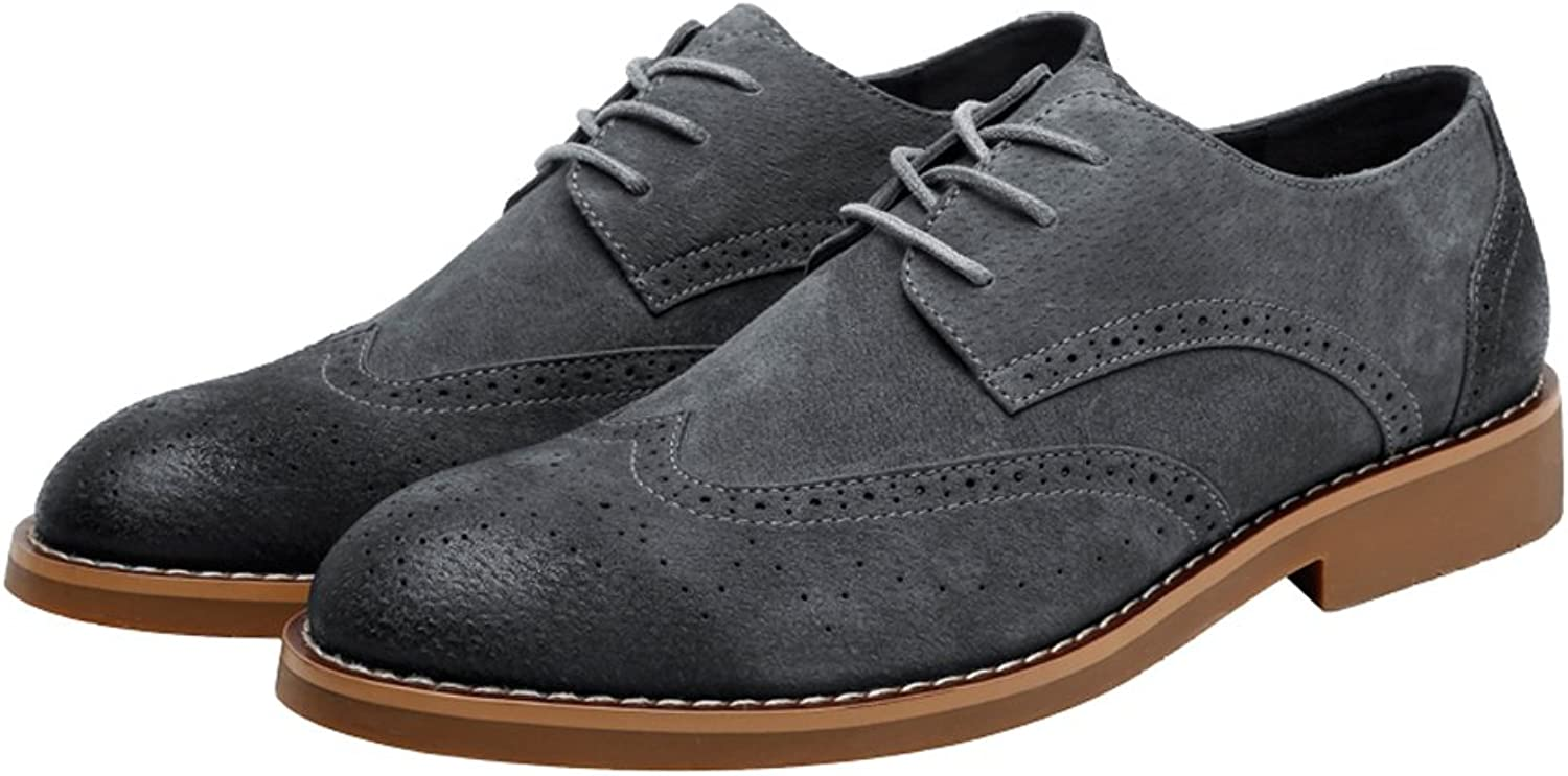 SCSY-Oxford shoes Men's Simple Classic Brogue shoes Matte Breathable Wingtip Genuine Leather Lined Oxfords (Suede Optional)