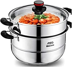 XMDD Stainless Steel Two-layer Steamer Thickened Double Bottom Induction Cooker Universal 26CM, 28CM WG1528NL Induction Co...