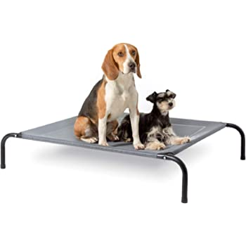 Bedsure Original Elevated Dog Bed Raised Dog Bed - 35/43/49 in Dog Cots for Large Medium Small Dogs, Indoor & Outdoor Pet Bed with Skid-Resistant Feet, Frame with Breathable Mesh (Grey/Brown)