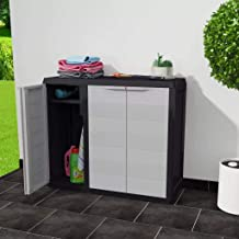MOUYOU Waterproof Outdoor Low Cabinet 97 x 38 x 87 cm Garden Cabinet with 3 Doors and 2 Adjustable Ventilated Shelves, PP ...