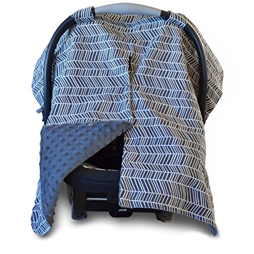 Car Seat Canopy and Nursing Cover Up with Peekaboo Opening - Herringbone Grey