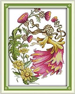 Cleana Arts Kreuzstich-Kits, Oktober Blume Fee, 11 CT Gezählt 41cm×51cm
