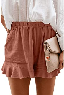 HOUJ Women Ruffle Elastic Waist Summer Solid Color Casual Shorts