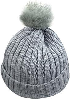 ZOMUSA Baby Hat, Toddler Children Warm Knit Beanie Hat Kids Boys Girls Fur Pom Bobble Crochet Cap