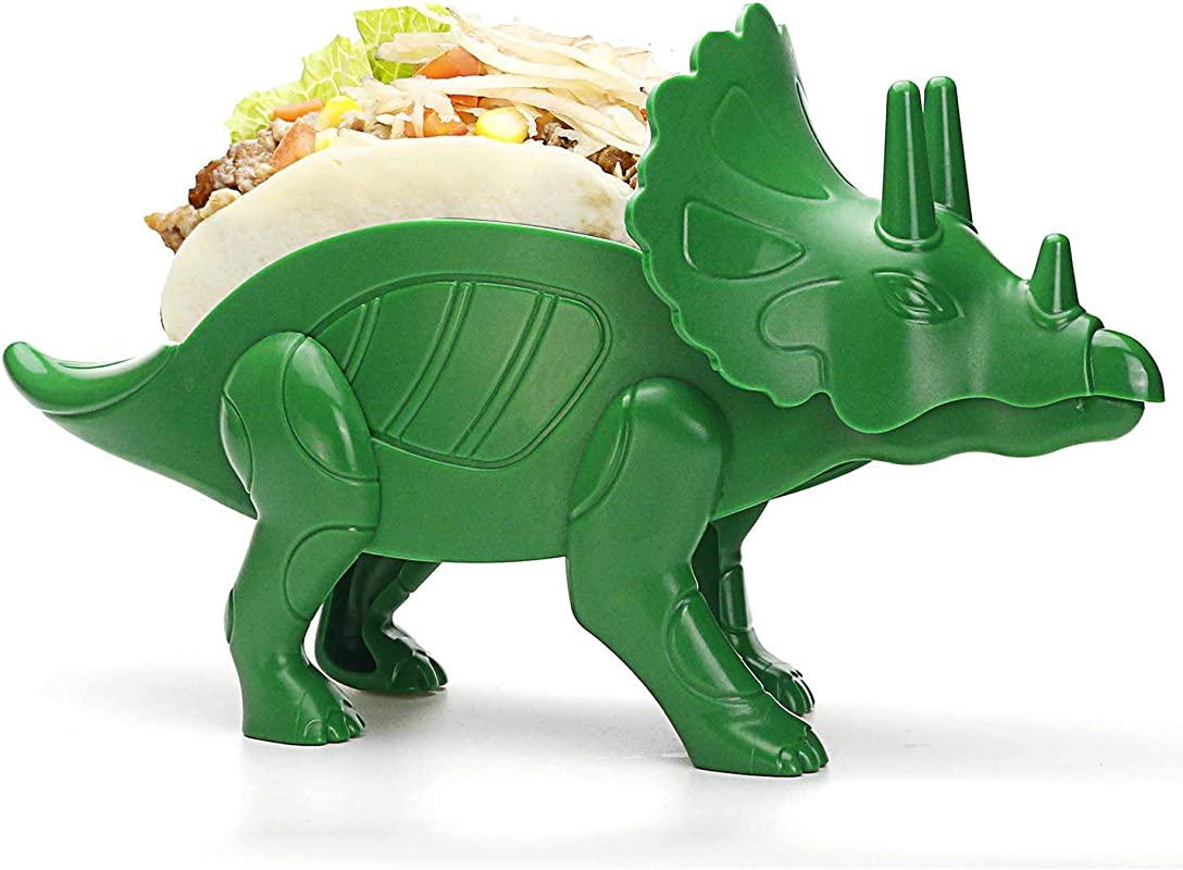 Teapeak Dino Taco Holder Triceratops Taco Stand For Jurassic Taco Tuesday And Dinosaur Parties Holds 2 Tacos Perfect Gift For The Kids Green