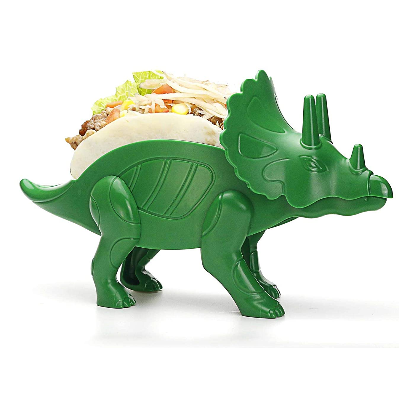 Teapeak Dino Taco Holder - Triceratops Taco stand for Jurassic Taco Tuesday and Dinosaur Parties- Holds 2 Tacos-Perfect Gift for the Kids! (Green)