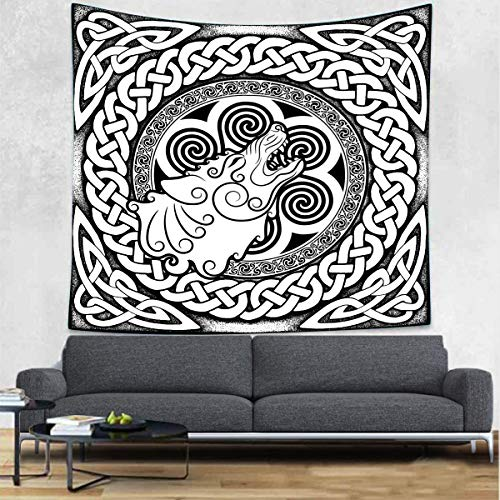 UHOMETAP Viking Wolf Tapestry Wolf and Good Celtic Knot Tapestry Black and White Tapestry Wall Blanket Wall Art Decor for Living Room Bedroom Dorm Home Decor 60x60 Inches GTWYUH320