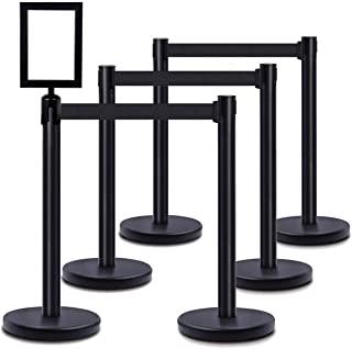 DuraSteel VIP Series Standard Rope Barriers - 6 Pcs Set Heavy Duty Black Tuff Tex Crowd Control Stanchions + Portrait Sign...