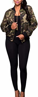 Women's Classic Casual Long Sleeve Camo Lightweight Zipper Outwear Short Jacket