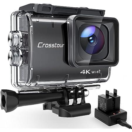 Crosstour Action Cam CT9500, 4K/50FPS 20MP WiFi EIS Stabilizzata Videocamera, Fotocamere Subacque Impermeabile 40M, 2 Batterie 1350 mAh con 19 Accessori Grandangolo Regolabile 170°