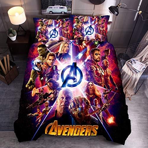 YOMOCO Juego de ropa de cama – Funda nórdica y 2 fundas de almohada, microfibra, impresión digital 3D, juego de tres piezas, The Avengers (Single 135 x 200 cm)