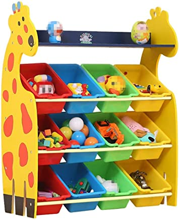 Ljleey-HO Toy storage rack Children Finishing Storage Rack For Organizing Toy Storage Baby Kids Toys Dog Toys Baby Clothing Children Books  Color Yellow  Size Free size