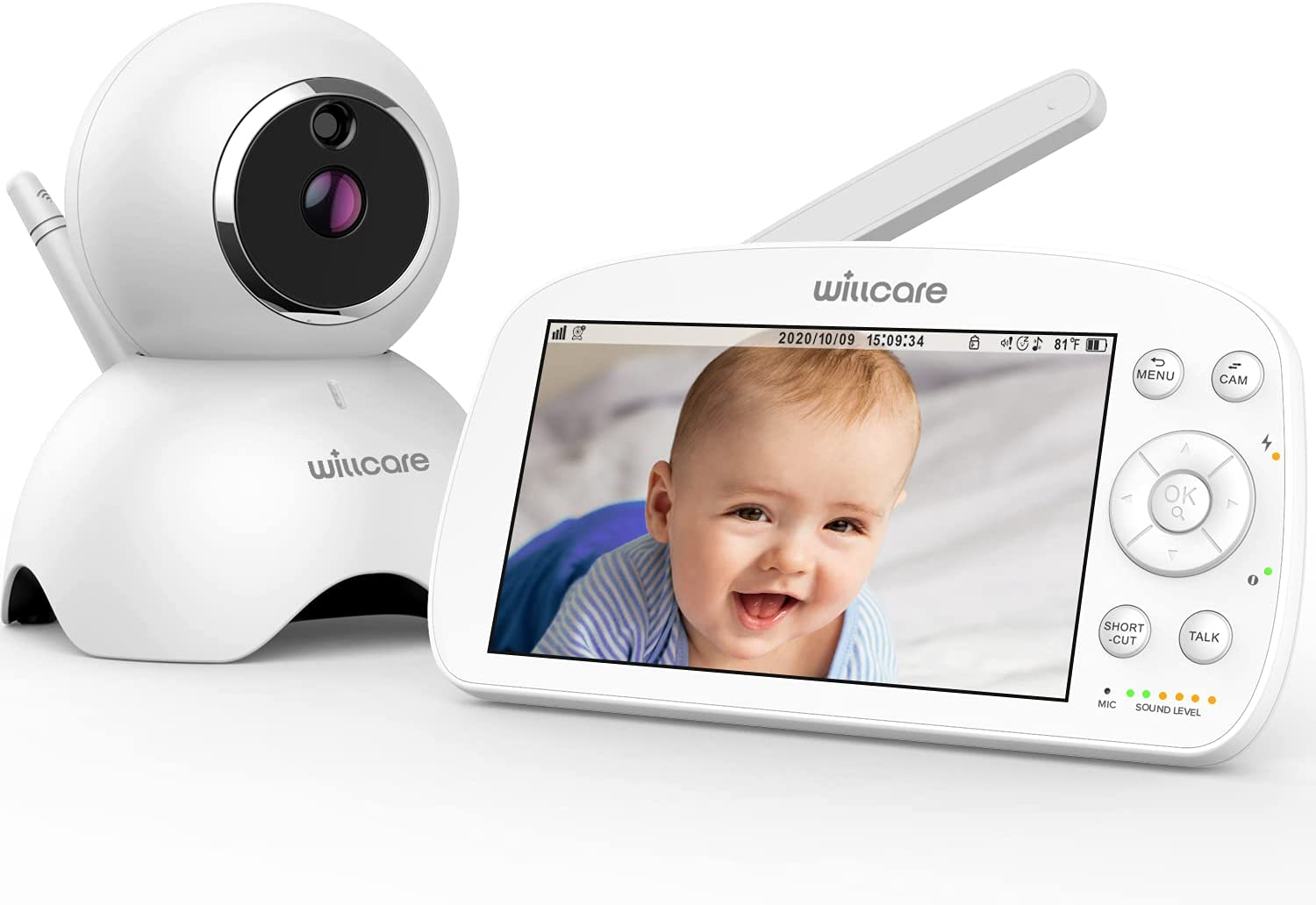 Video Baby Monitor with Camera and Audio, 5000mAh Big Battery,720P HD Resolution, 5.5