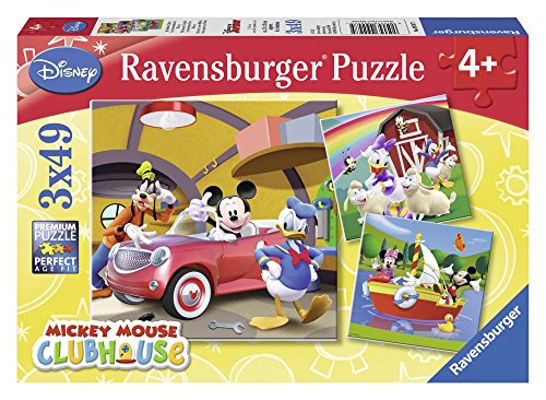 Ravensburger-9247 Mouse Mickey Puzzle Triple 3x49 Piezas, Color Azul, Rojo, 5+ (9247)