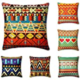 Cheerace Throw Pillow Covers Outdoor Pillow Pack of 6, Decorative Square African Wind Pillowcase Soft Solid Cushion Case for Sofa Bedroom Car 18x18In(01-African Wind)