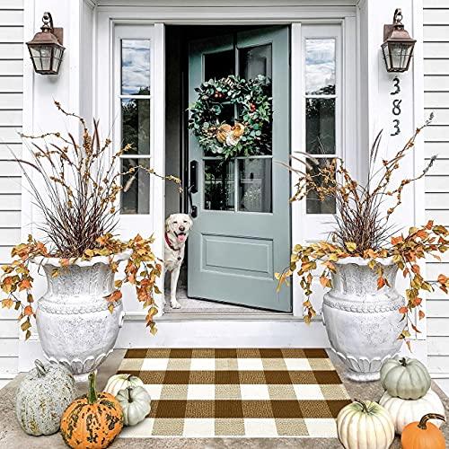 Door Mat - Welcome Mat - Indoor Door Mat - Buffalo Plaid Outdoor Rug - Fall Door Mat - Brown Doormat - Welcome Mats for Front Door - 23x36 Door Mats Outdoor