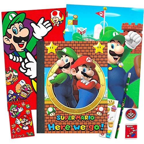 Nintendo Super Mario School Supplies Value Pack Bundle - Folders, Notepad, Pencil, Pencil Sharpener, Eraser, and Stickers (Super Mario School Supplies)