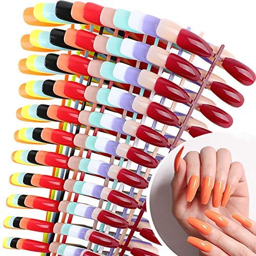 UFLF 288 Stück Falsche Nägel Lang Künstliche Nägel Ballerina Kunstnägel Tips Bunt Nail Tips Fake Nails DIY Nagelspitzen - 12 Farbe 10 Größe