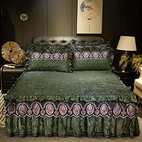Bett Rock Anzug 3-teiliges Set Rüschen Bett Rock Rüste Stickerei gefaltete...