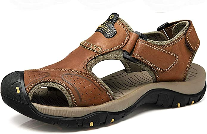 U-MAC Mens Leather Sport Sandals Summer Outdoor Open Toe Beach Shoes Casual Non-Slip Fisherman Slippers