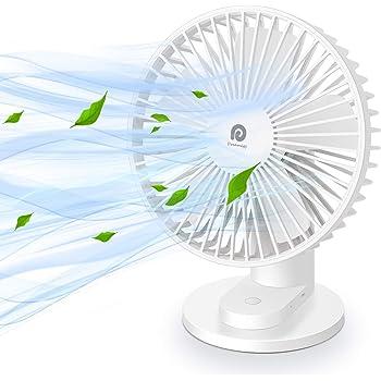 【2020最新版・電池内蔵】Dreamegg 卓上扇風機 USB 充電式 上下90°角度調整 三段階風量調節 クリップ付 静音 大風量 長時間連続使用 扇風機 熱中症対策 DG-F04 (ホワイト)