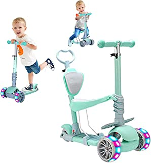 COOLBABY 5 in 1 Kids Kick Scooter, 3 Wheels Walker with Removable Seat and Back Rest, 4 Adjustable Height for Toddlers 1-8...