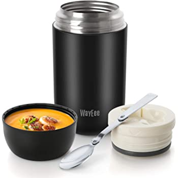 WayEee Boîtes Alimentaires isothermes,Boite Isotherme Repas Chaud Porte-Aliments en Acier Inoxydable à Double Couche pour Ecole Bureau (Noir, 750ML)