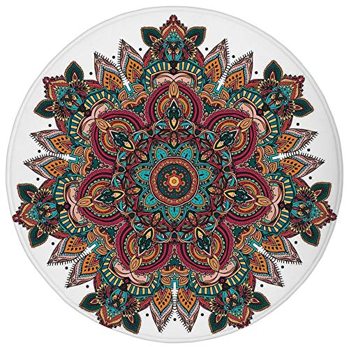 Fevthmii Round Rug Mat Carpet,Mandala,Ethnic Mandala Design Asian Unifying Centre Eastern Religion Sign Pattern Print Decorative, Flannel Microfiber Non-Slip Soft Absorbent,for Kitchen Floor Bathroom