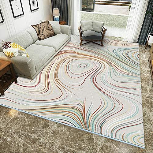Teppich kinderzimmer Maedchen Orange Salon Teppich orange abstrakte Streifenmuster waschbare Teppich Anti-Milbe teppichboden auslegware 180X280CM Teppich Kinder 5ft 10.9''X9ft 2.2''