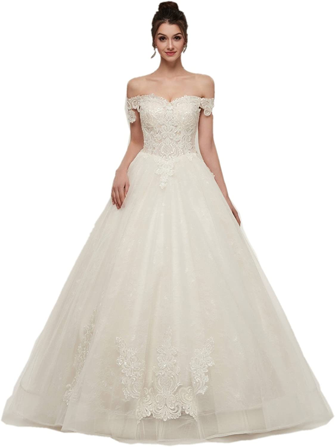 Darcy74Dulles Women's Elegant Embroidery Wedding Dress Sexy OffShouder Wedding Gown