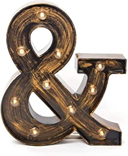 Glintee Ampersand Sign LED Marquee Letter Lights Vintage Style Light Up 26 Alphabet..