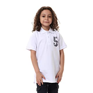 Andora Ribbed-Trims Short Sleeves Cotton Polo Shirt for Boys - White, 16 Years