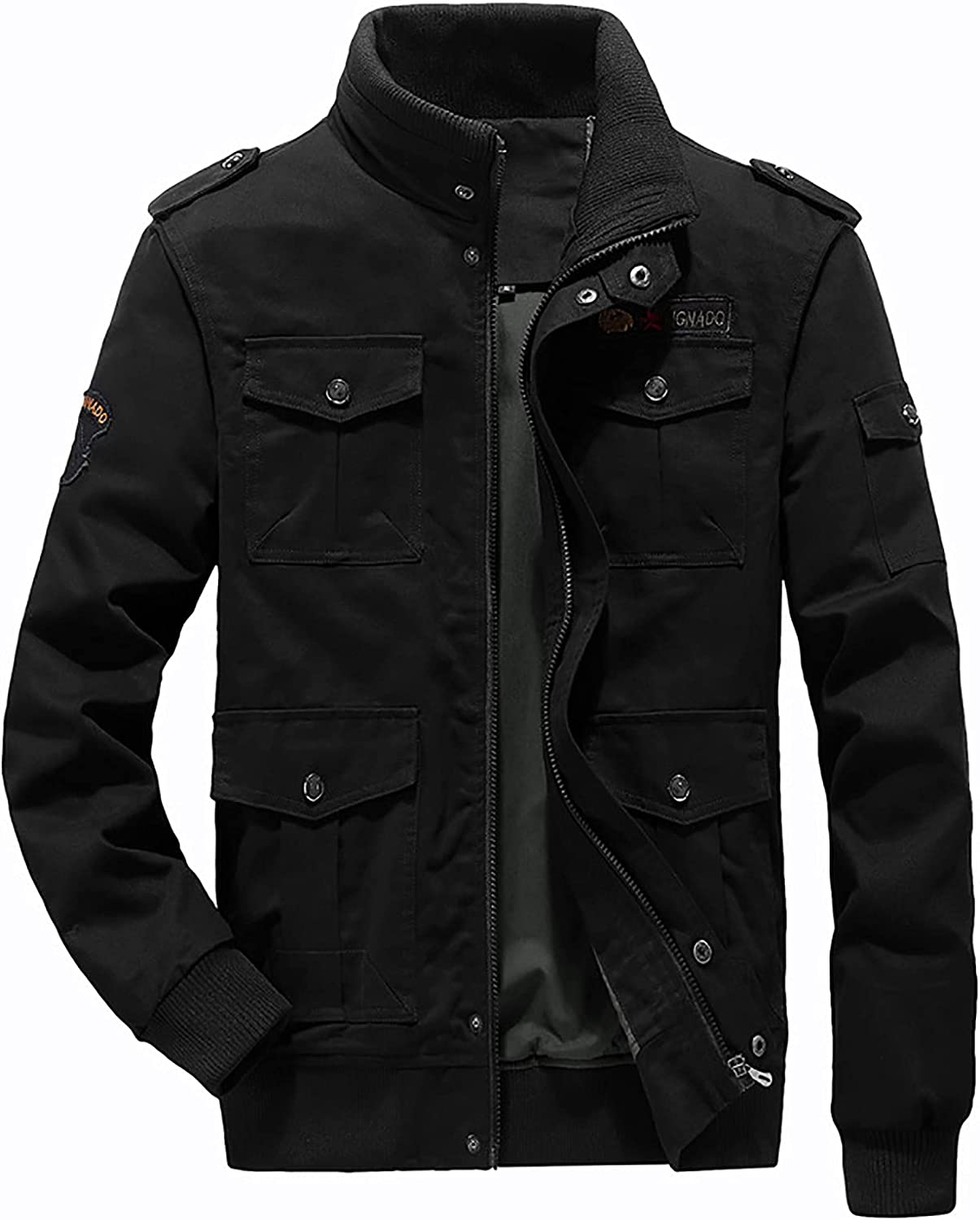 Men's Stand Collar Jacket Autumn And Winter Casual Solid Color Tooling Wind Jacket Zipper Coat