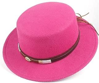 ZiWen Lu 新しい女性男性フラットトップフェドーラ帽子冬カジュアル教会帽子屋外旅行帽子ポークパイジャズ帽子サイズ56-58センチ (色 : ローズレッド, サイズ : 56-58)