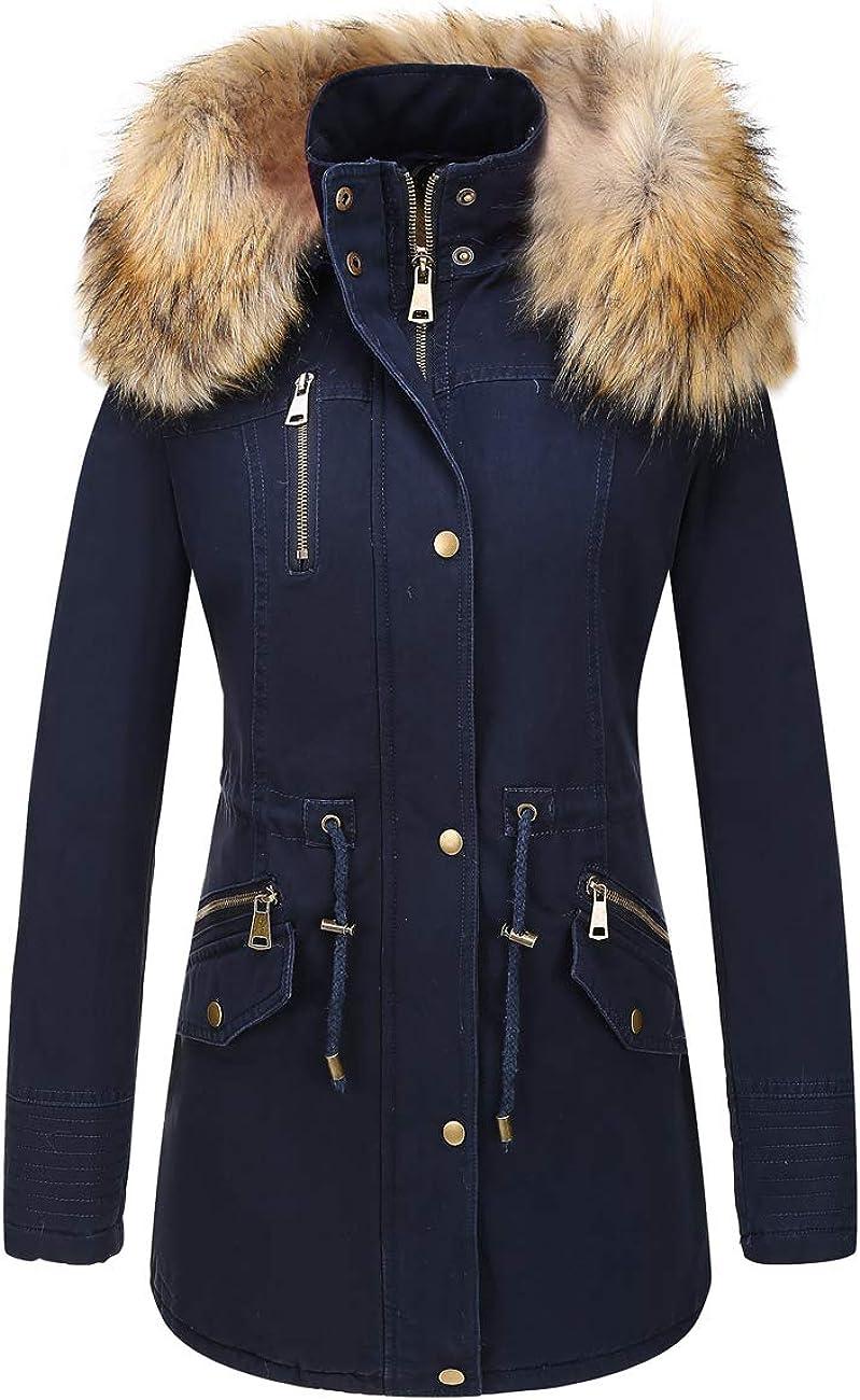 Bellivera Women's Twill Parka Jacket with Faux Fur Collar,Warm Winter Coat for Women