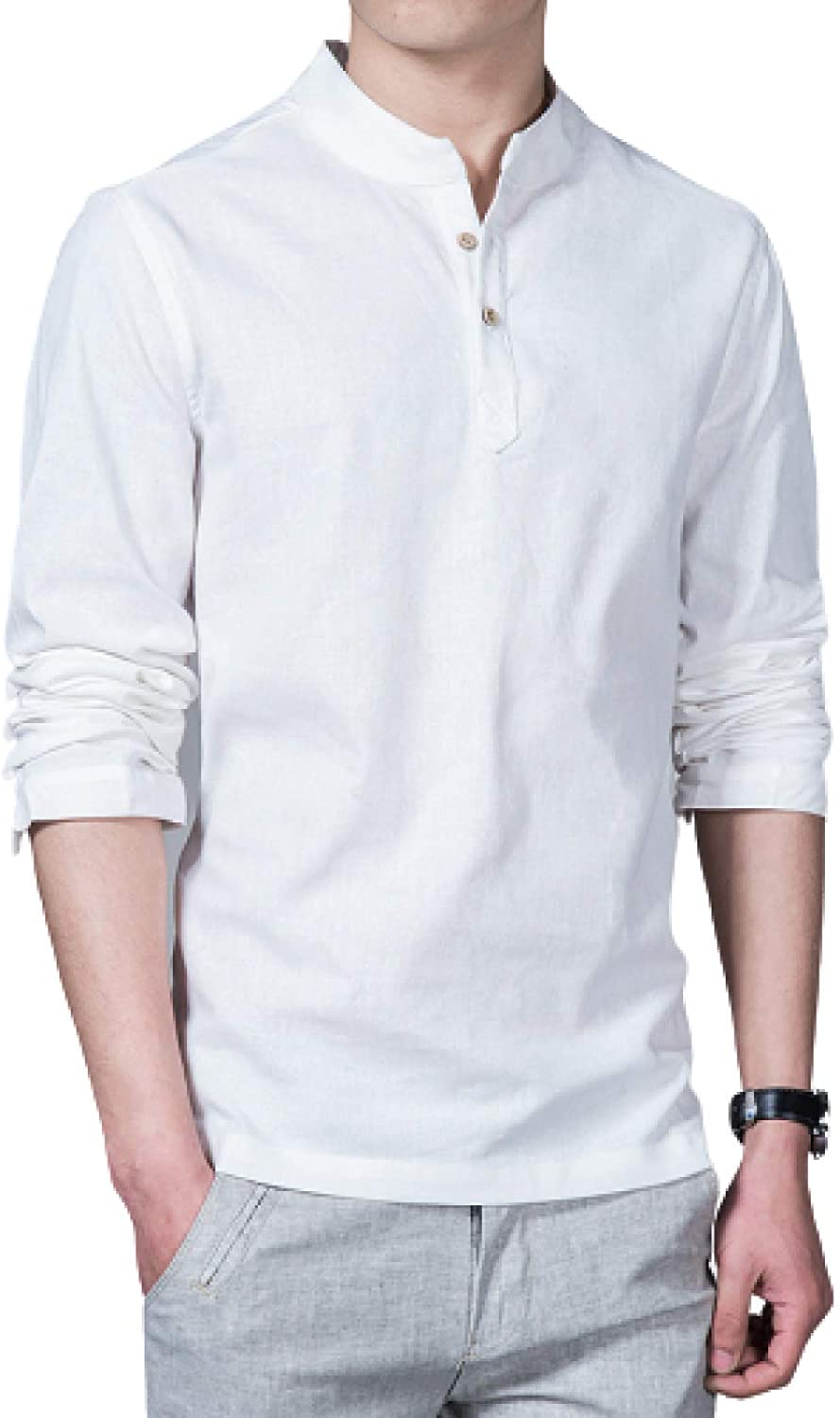 Men's Solid Color Stand-up Collar Pullover Fashion Comfortable Simple Large
