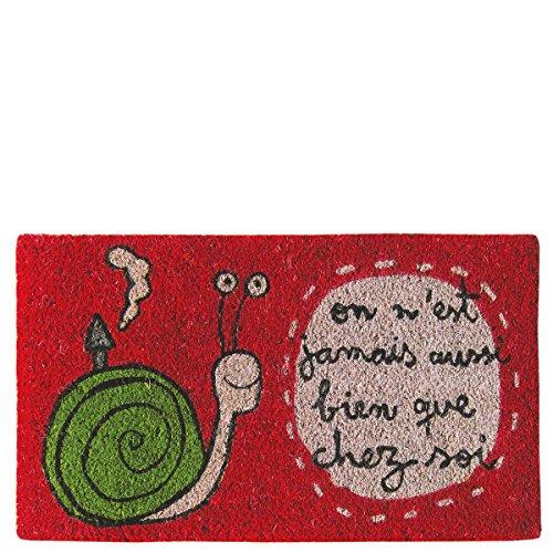 Laroom deurmat, Design On N'Est Jamais ook goed Que Chez SOI, jute & antislip onderkant, rood, 40 x 70 x 1,8 cm