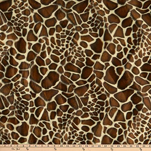 FABRIC BASE, INC Velboa Smooth Wave Prints, Giraffe Safari Yard