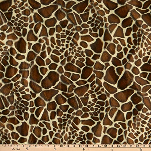 FABRIC BASE, INC Velboa Smooth Wave Prints, Giraffe Safari Yard