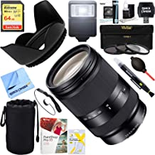 Sony (SEL18200LE Zoom E-Mount Lens - 18mm- 200 mm - f/3.5-5.6 OSS + 64GB Ultimate Filter & Flash Photography Bundle